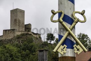Burgruine 'Haus Murach', Obermurach,  geschlossen, Schlüssel muss beim Burgwächter geholt werden, MaIbaum mit Schlüsselsymbol