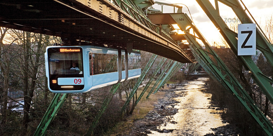 suspension railway WSW GTW Generation 15 over the river Wupper, Wuppertal, Germany, Europe