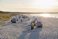 Beach chairs on the beach of Prerow, Baltic Sea, Darss, Mecklenburg-Vorpommern, Germany