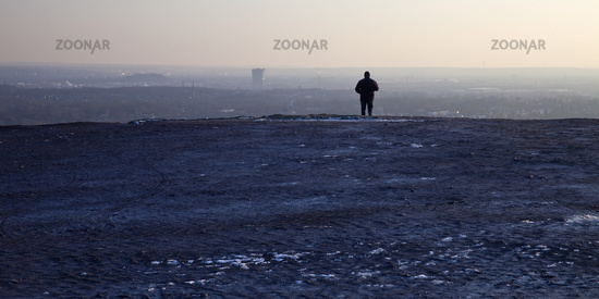 visitor enjoying the view from the stockpile Haniel to the Ruhr area, Bottrop, Germany, Europe