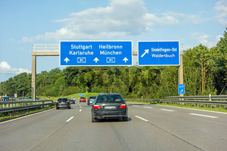 freeway road sign on Autobahn A81, Stuttgart / Karlsruhe - Heilbronn / Munich