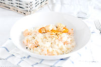 Delicious risotto with shrimp and scallops