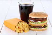 Doubleburger Double Burger Hamburger Menu Menü Menue Pommes Frites Cola