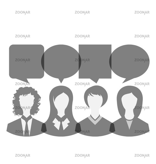 Icons of business women with dialog speech bubbles, copy space for text