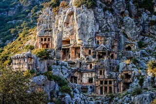 Lycian rock cut tombs in Myra in Turkey