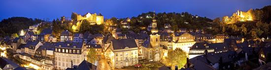 cityscape in the evening light, Monschau, Eifel, North Rhine-Westphalia, Germany, Europe
