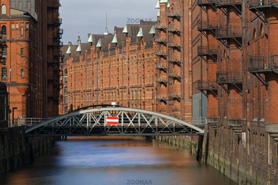 Speicherstadt historic warehouse district, Hamburg, Germany, Europe