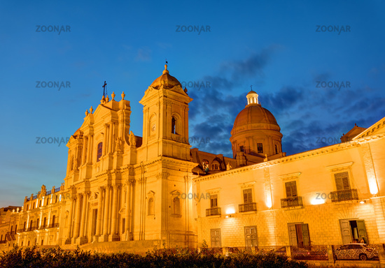 The beautiful baroque cathedral of Noto in Sicily, Italy, at night