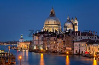 Santa Maria della Salute Church in the Evening, Venice, Italy