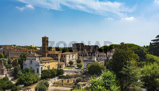Panoramic view the Colosseum and Roman Forum from Palantine hill, Rome, Italy