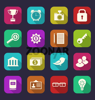 Set flat icons of business, office and financial items, style with long shadows