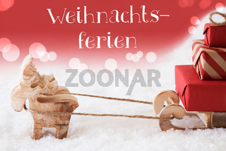 Reindeer With Sled, Red Background, Weihnachtsferien Means Christmas Break