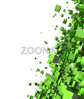 3D - Hintergrund - Flying Cubes Green 01