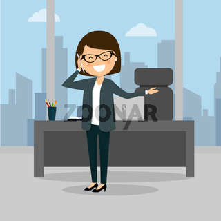 Business woman talking on the phone at the work. City background