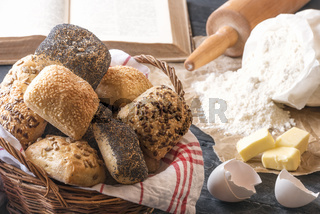 Mixed buns and baking ingredients