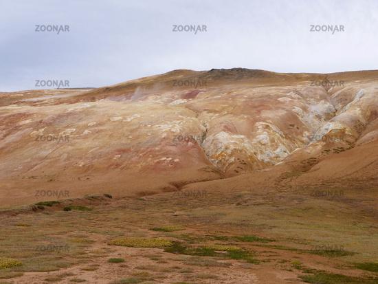 Fumaroles on the east slope of Mt. Leirhnjúkur in Iceland