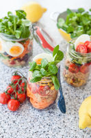 Layered salad in jar