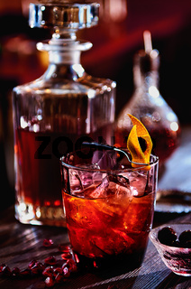 Alcoholic cocktail with rum, pomegranate juice and grenadine syrup