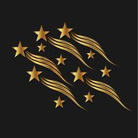 Gold Stars Waves. Vector Illustration