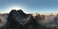 panorama of mountains. made with the one 360 degree lense camera without any seams. ready for virtual reality. 3D illustration