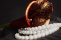 Pearl necklace and red calla flower