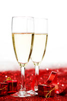 Champagne and red decor