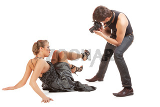 Young adult female model and photographer.