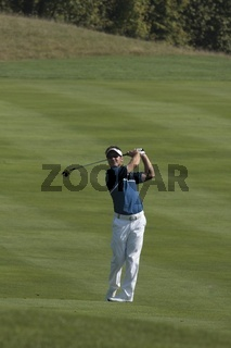 South Africa's Trevor Immelmann, at the apex of his swing after hitting a fairway shot.