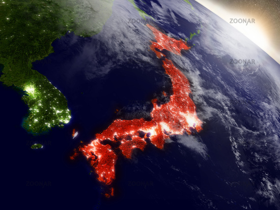 Japan from space highlighted in red
