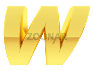 Gold alphabet symbol letter W with gradient reflections isolated on white. High resolution 3D image