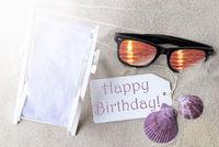 Sunny Flat Lay Summer Label Happy Birthday