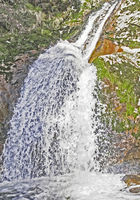 Close-up of the Allerheiligen waterfalls with lots of gout in the Black Forest