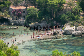View of beach and island Isola Bella at Taormina