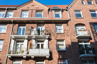 facade of residential house in Hamburg city