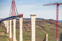 High Moselle Bridge construction side view over the Moselle valley Landscape Germany