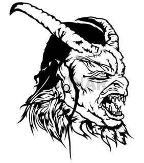 Satan Head with Scary Face