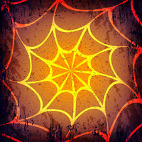 Vector grunge Halloween dark background. Hand drawn spider web