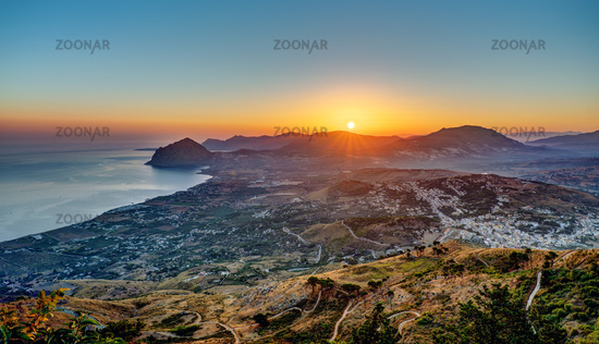 Sunrise seen from Erice in Sicily with the Monte Cofano in the back