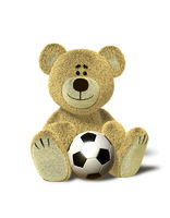 Nhi Bear sits with soccer ball