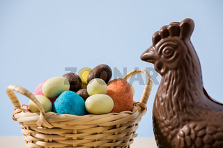 Closeup of easter chocolate chicken and eggs