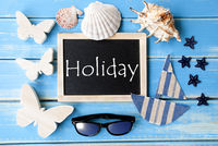 Blackboard With Maritime Decoration And Text Holiday