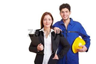 Geschäftsfrau und Handwerker