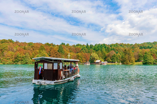 Boat on Plitvice lake