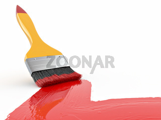 Paintbrush on white isolated background. Abstract background. 3d