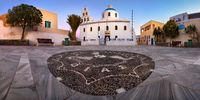 Panorama of Panagia Platsani Orthodox Church in the Morning, Oia, Santorini, Greece