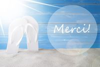 Sunny Summer Wooden Background, Merci Means Thank You