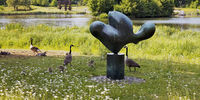 sculpture Feuille se reposant in front of the city lake, Marl, Ruhr Area, Germany, Europe