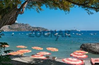 Beach in Giardini Naxos, Sicily
