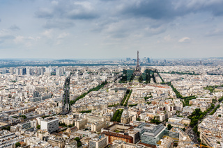 Aerial View on Champs de Mars and Eiffel Tower, Paris, France