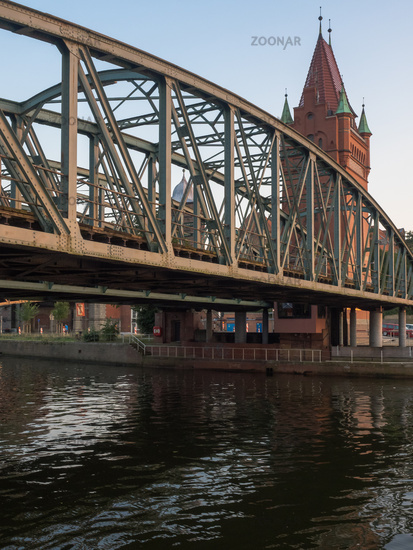 Bridge made of steel over river Untertrave in Luebeck, Germany